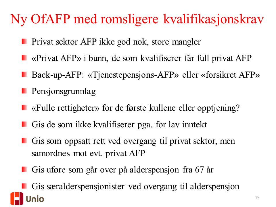 19 Privat sektor AFP ikke god nok, store mangler «Privat AFP» i bunn, de som kvalifiserer får full privat AFP Back-up-AFP: «Tjenestepensjons-AFP» eller «forsikret AFP» Pensjonsgrunnlag «Fulle rettigheter» for de første kullene eller opptjening.
