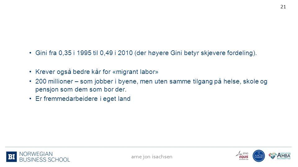 Gini fra 0,35 i 1995 til 0,49 i 2010 (der høyere Gini betyr skjevere fordeling). Krever også bedre kår for «migrant labor» 200 millioner – som jobber