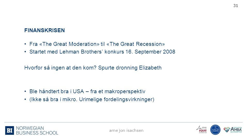 FINANSKRISEN Fra «The Great Moderation» til «The Great Recession» Startet med Lehman Brothers' konkurs 16.