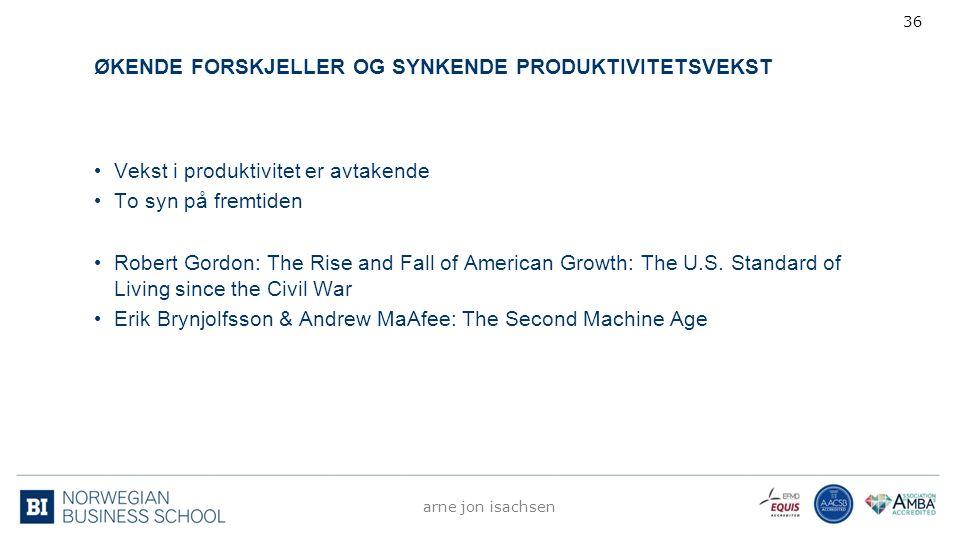 ØKENDE FORSKJELLER OG SYNKENDE PRODUKTIVITETSVEKST Vekst i produktivitet er avtakende To syn på fremtiden Robert Gordon: The Rise and Fall of American
