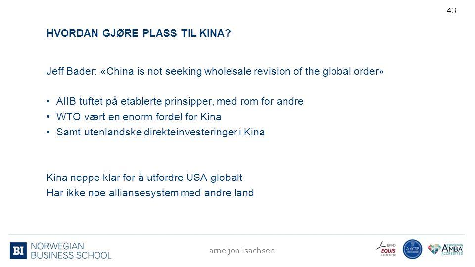 HVORDAN GJØRE PLASS TIL KINA? Jeff Bader: «China is not seeking wholesale revision of the global order» AIIB tuftet på etablerte prinsipper, med rom f
