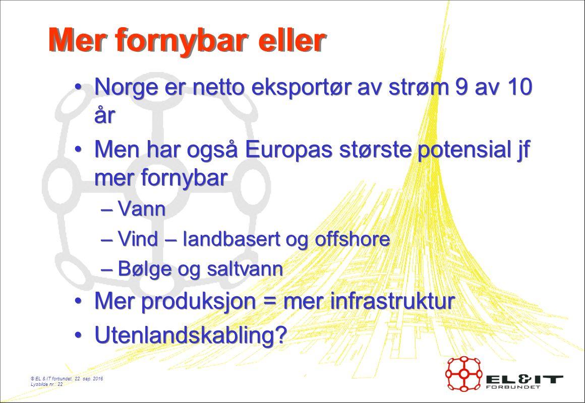 Mer fornybar eller Norge er netto eksportør av strøm 9 av 10 år Men har også Europas største potensial jf mer fornybar –Vann –Vind – landbasert og offshore –Bølge og saltvann Mer produksjon = mer infrastruktur Utenlandskabling.