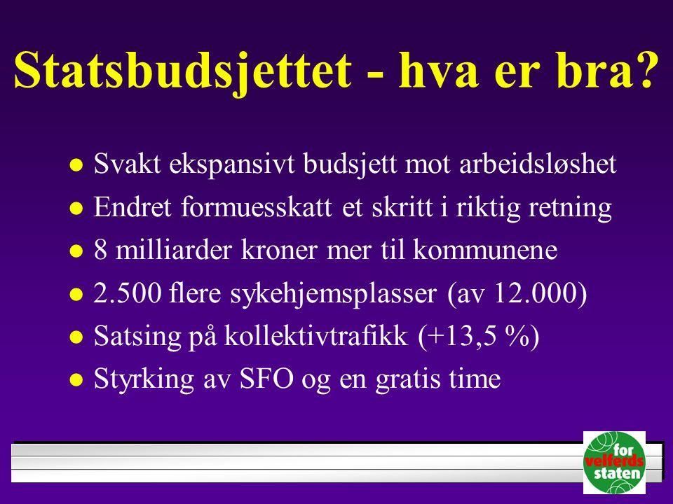 Statsbudsjettet - hva er bra? Svakt ekspansivt budsjett mot arbeidsløshet Endret formuesskatt et skritt i riktig retning 8 milliarder kroner mer til k