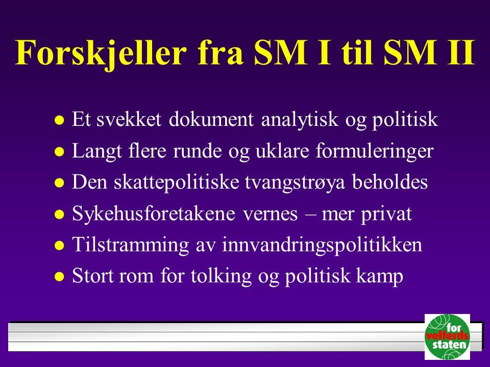 Forskjeller fra SM I til SM II Et svekket dokument analytisk og politisk Langt flere runde og uklare formuleringer Den skattepolitiske tvangstrøya beh
