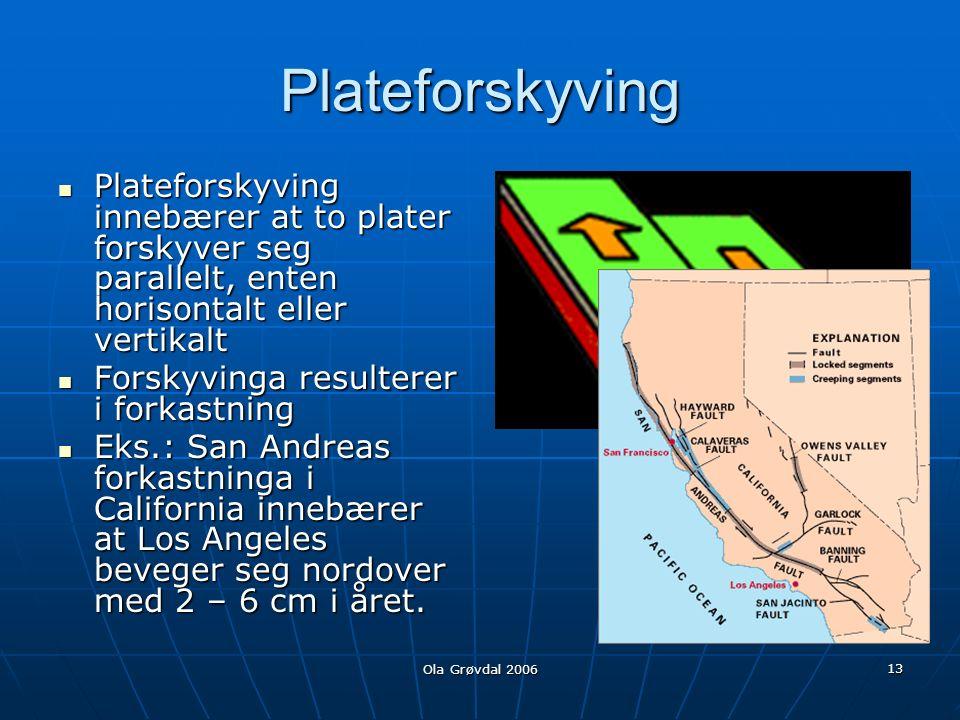 Ola Grøvdal 2006 13 Plateforskyving Plateforskyving innebærer at to plater forskyver seg parallelt, enten horisontalt eller vertikalt Plateforskyving innebærer at to plater forskyver seg parallelt, enten horisontalt eller vertikalt Forskyvinga resulterer i forkastning Forskyvinga resulterer i forkastning Eks.: San Andreas forkastninga i California innebærer at Los Angeles beveger seg nordover med 2 – 6 cm i året.