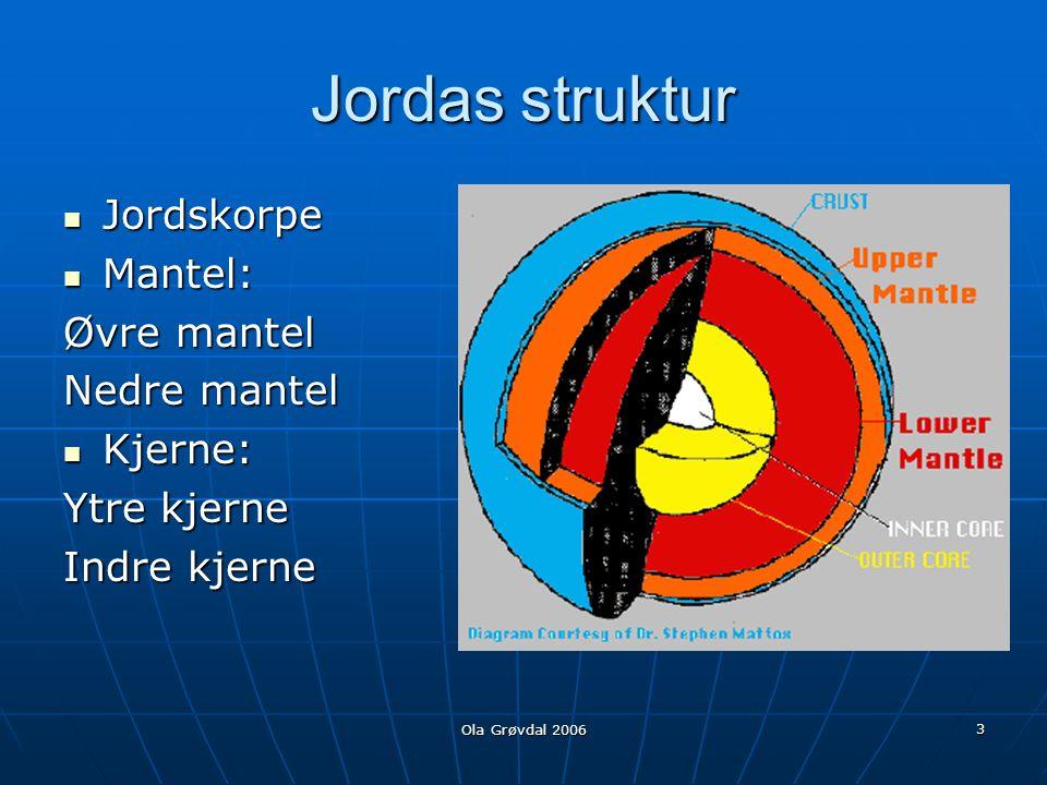 Ola Grøvdal 2006 3 Jordas struktur Jordskorpe Jordskorpe Mantel: Mantel: Øvre mantel Nedre mantel Kjerne: Kjerne: Ytre kjerne Indre kjerne