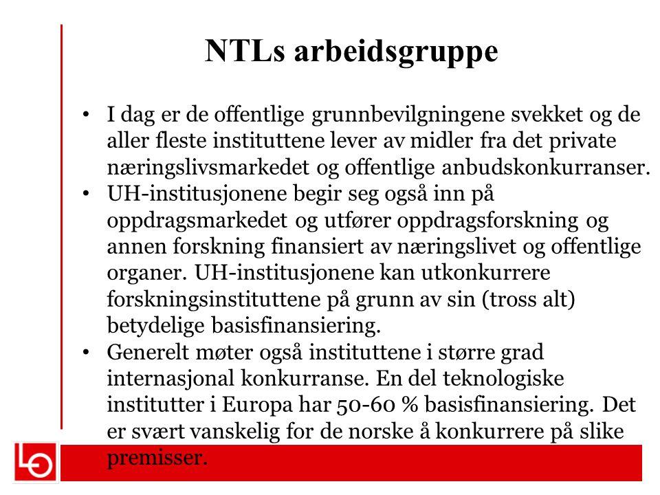 NTLs arbeidsgruppe I dag er de offentlige grunnbevilgningene svekket og de aller fleste instituttene lever av midler fra det private næringslivsmarkedet og offentlige anbudskonkurranser.