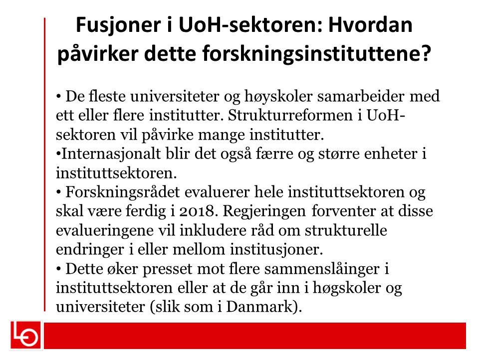De fleste universiteter og høyskoler samarbeider med ett eller flere institutter. Strukturreformen i UoH- sektoren vil påvirke mange institutter. Inte