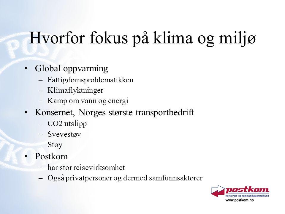 Hvorfor fokus på klima og miljø Global oppvarming –Fattigdomsproblematikken –Klimaflyktninger –Kamp om vann og energi Konsernet, Norges største transp