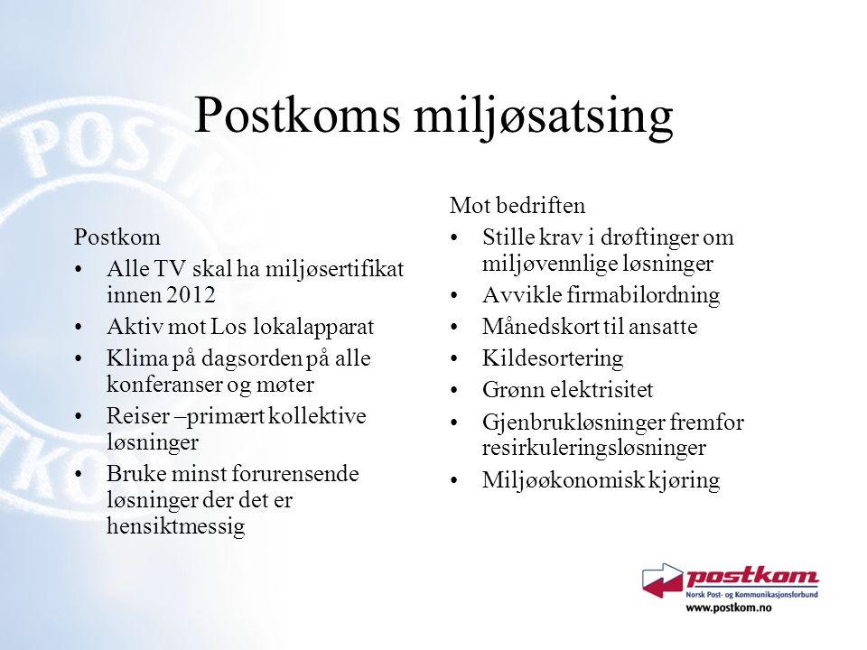 Postkoms miljøsatsing Postkom Alle TV skal ha miljøsertifikat innen 2012 Aktiv mot Los lokalapparat Klima på dagsorden på alle konferanser og møter Re