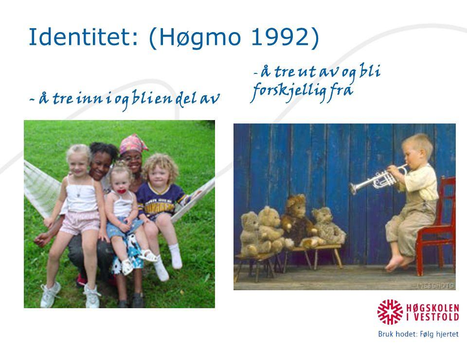 - å tre inn i og bli en del av - å tre ut av og bli forskjellig fra Identitet: (Høgmo 1992)