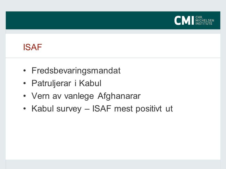 ISAF Fredsbevaringsmandat Patruljerar i Kabul Vern av vanlege Afghanarar Kabul survey – ISAF mest positivt ut