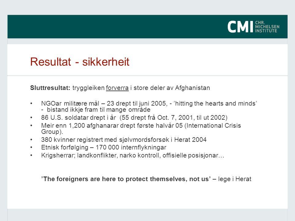 Resultat - sikkerheit Sluttresultat: tryggleiken forverra i store deler av Afghanistan NGOar militære mål – 23 drept til juni 2005, - 'hitting the hearts and minds' - bistand ikkje fram til mange område 86 U.S.