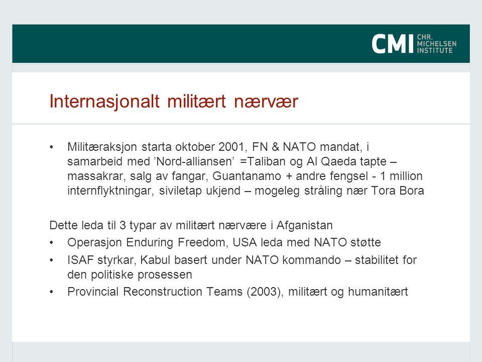 Internasjonalt militært nærvær Militæraksjon starta oktober 2001, FN & NATO mandat, i samarbeid med 'Nord-alliansen' =Taliban og Al Qaeda tapte – mass