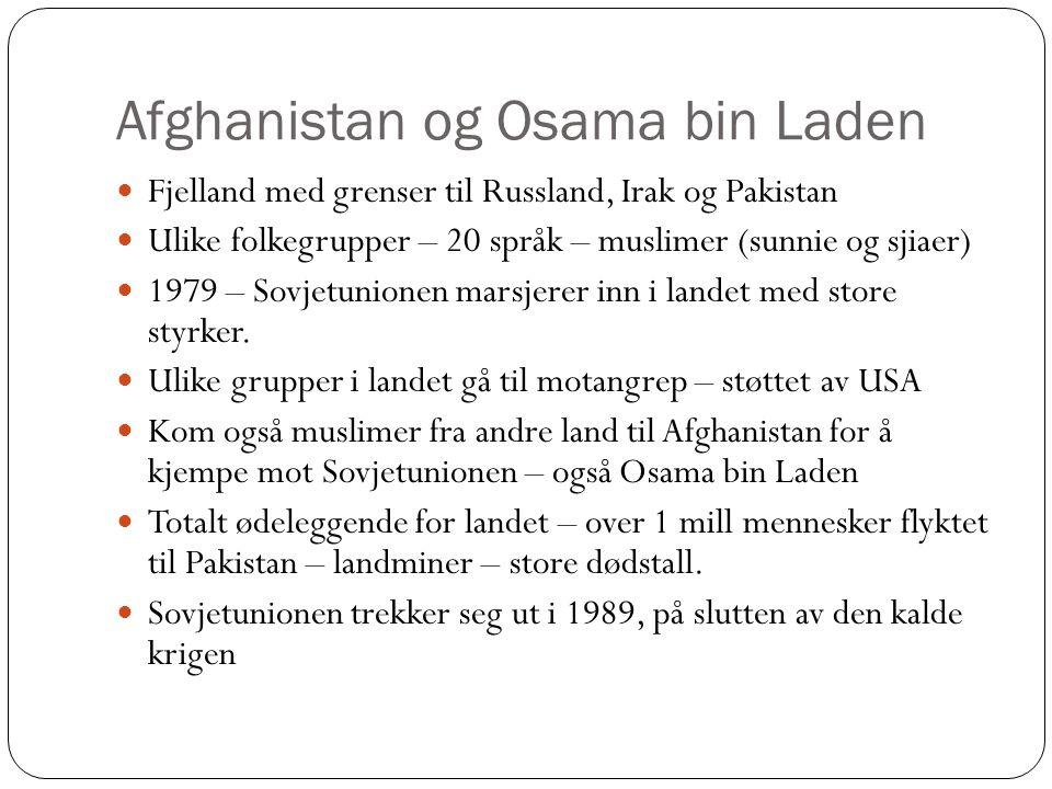 Afghanistan og Osama bin Laden Fjelland med grenser til Russland, Irak og Pakistan Ulike folkegrupper – 20 språk – muslimer (sunnie og sjiaer) 1979 – Sovjetunionen marsjerer inn i landet med store styrker.