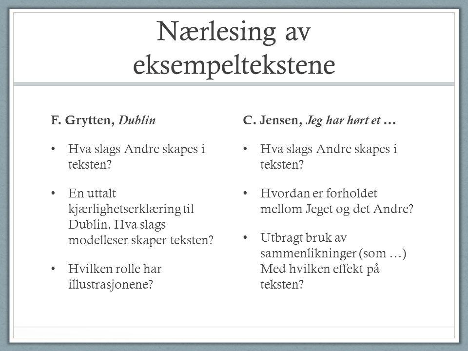 Nærlesing av eksempeltekstene F. Grytten, Dublin Hva slags Andre skapes i teksten.