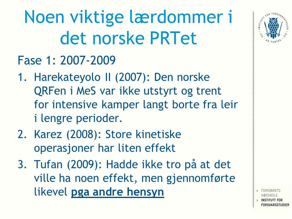 Noen viktige lærdommer i det norske PRTet Fase 1: 2007-2009 1.Harekateyolo II (2007): Den norske QRFen i MeS var ikke utstyrt og trent for intensive kamper langt borte fra leir i lengre perioder.
