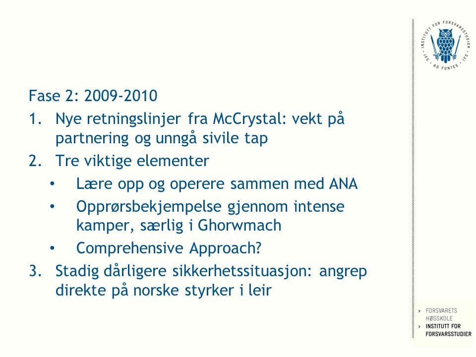 Fase 2: 2009-2010 1.Nye retningslinjer fra McCrystal: vekt på partnering og unngå sivile tap 2.Tre viktige elementer Lære opp og operere sammen med ANA Opprørsbekjempelse gjennom intense kamper, særlig i Ghorwmach Comprehensive Approach.