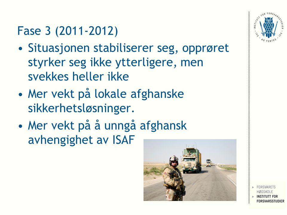 Fase 3 (2011-2012) Situasjonen stabiliserer seg, opprøret styrker seg ikke ytterligere, men svekkes heller ikke Mer vekt på lokale afghanske sikkerhetsløsninger.