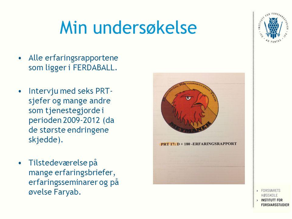 Min undersøkelse Alle erfaringsrapportene som ligger i FERDABALL.