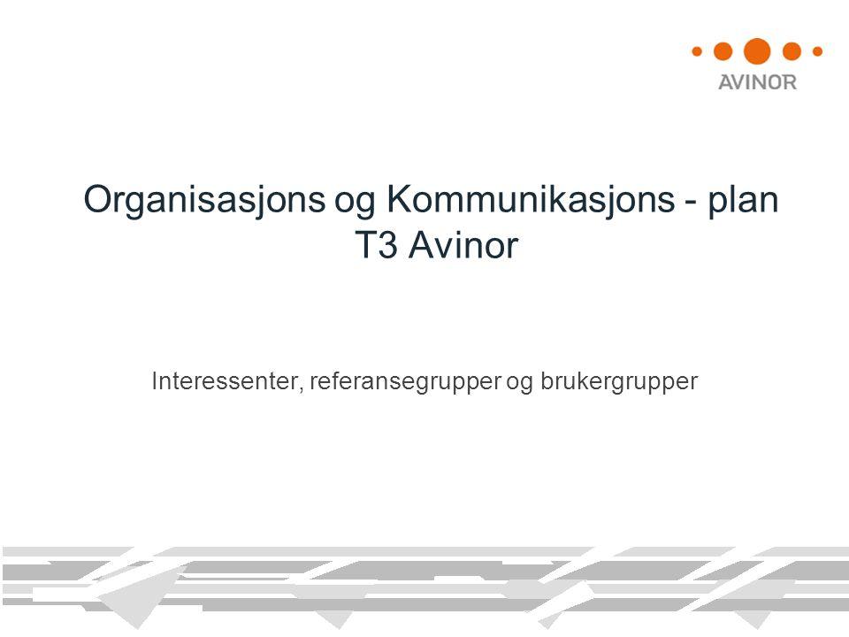 Organisasjons og Kommunikasjons - plan T3 Avinor Interessenter, referansegrupper og brukergrupper
