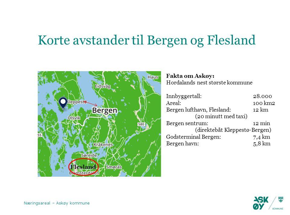 Korte avstander til Bergen og Flesland Næringsareal – Askøy kommune Flesland Fakta om Askøy: Hordalands nest største kommune Innbyggertall: 28.000 Areal: 100 km2 Bergen lufthavn, Flesland: 12 km (20 minutt med taxi) Bergen sentrum: 12 min (direktebåt Kleppestø-Bergen) Godsterminal Bergen: 7,4 km Bergen havn: 5,8 km