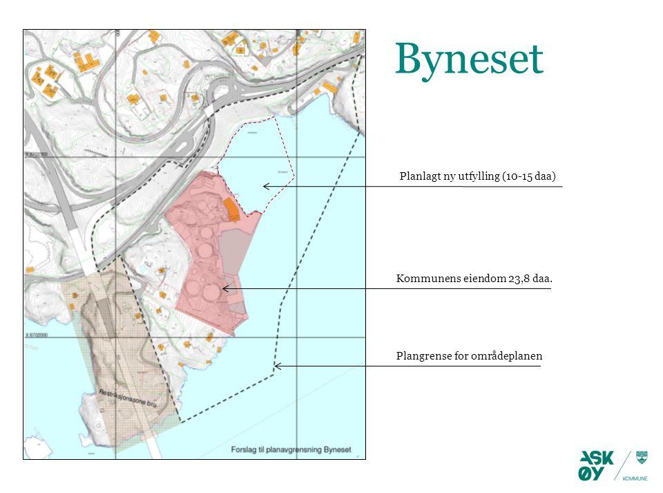 Plangrense for områdeplanen Kommunens eiendom 23,8 daa. Planlagt ny utfylling (10-15 daa) Byneset