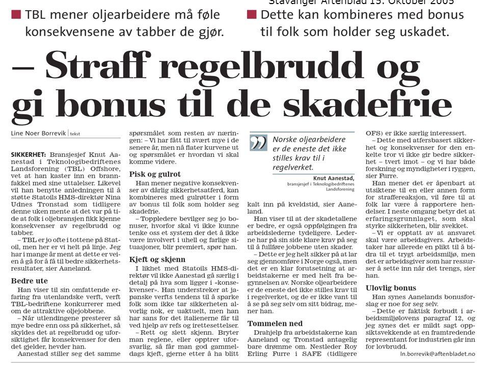 Stavanger Aftenblad 15. Oktober 2005