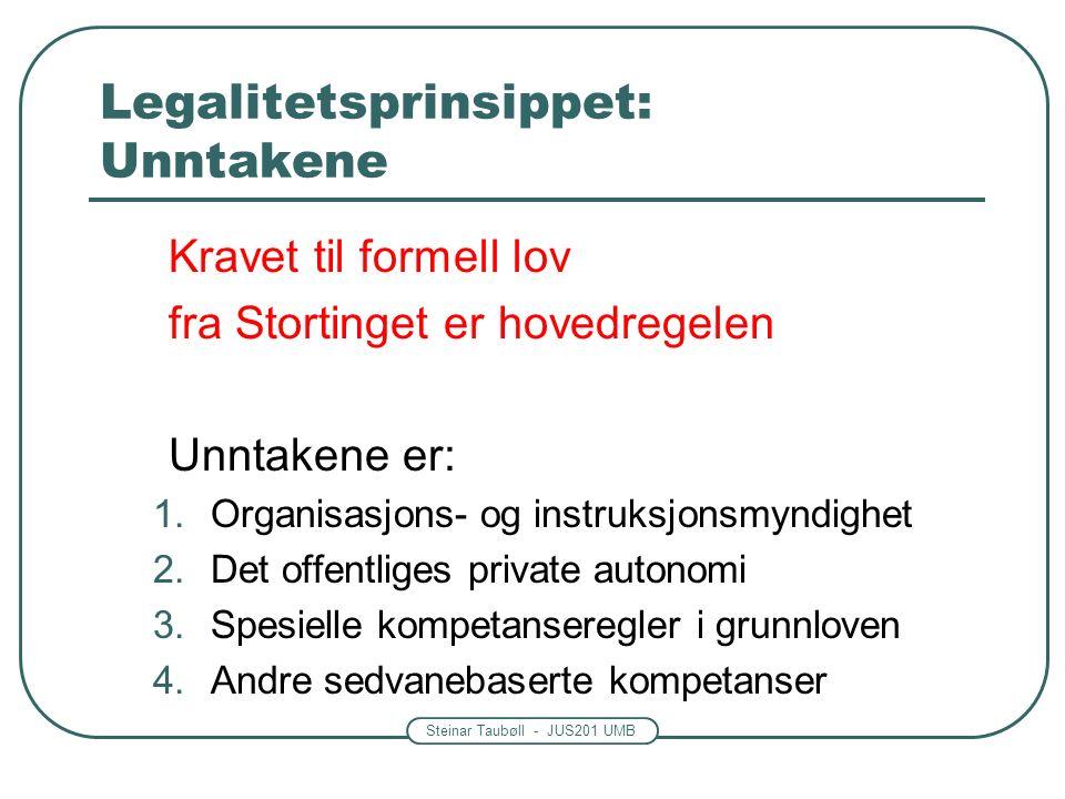 Steinar Taubøll - JUS201 UMB Legalitetsprinsippet: Unntakene Kravet til formell lov fra Stortinget er hovedregelen Unntakene er: 1.Organisasjons- og instruksjonsmyndighet 2.Det offentliges private autonomi 3.Spesielle kompetanseregler i grunnloven 4.Andre sedvanebaserte kompetanser
