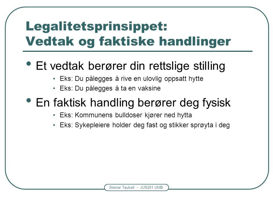 Steinar Taubøll - JUS201 UMB Legalitetsprinsippet: Begrepsbruk Ikke alt som skjer i offentlig regi er myndighetsutøvelse.