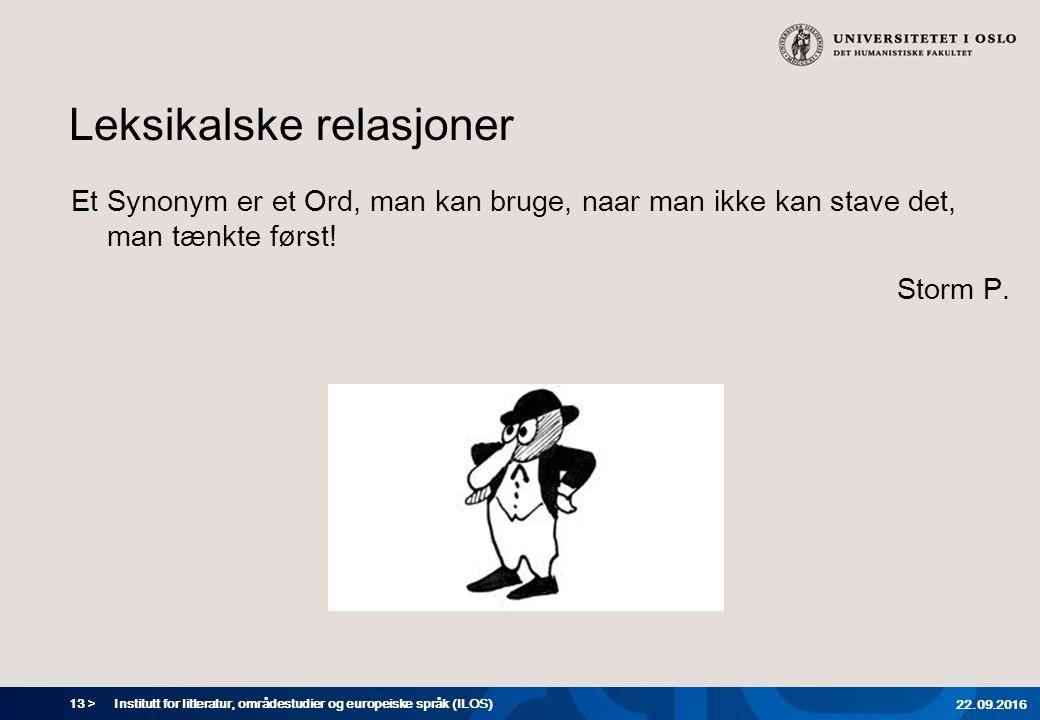 13 > Leksikalske relasjoner Et Synonym er et Ord, man kan bruge, naar man ikke kan stave det, man tænkte først.
