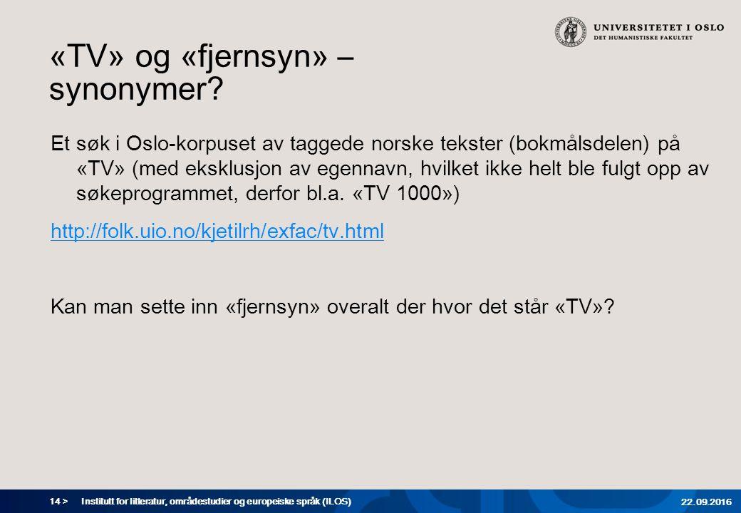 14 > «TV» og «fjernsyn» – synonymer.