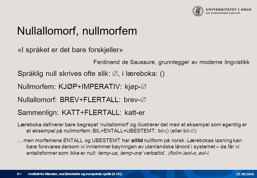 9 > Nullallomorf, nullmorfem «I språket er det bare forskjeller» Ferdinand de Saussure, grunnlegger av moderne lingvistikk Språklig null skrives ofte slik: ∅, i læreboka: () Nullmorfem: KJØP+IMPERATIV: kjøp-∅ Nullallomorf: BREV+FLERTALL: brev-∅ Sammenlign: KATT+FLERTALL: katt-er Læreboka definerer bare begrepet 'nullallomorf' og illustrerer det med et eksempel som egentlig er et eksempel på nullmorfem: BIL+ENTALL+UBESTEMT: bil-() (eller bil-∅)...