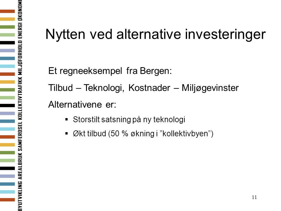 11 Nytten ved alternative investeringer Et regneeksempel fra Bergen: Tilbud – Teknologi, Kostnader – Miljøgevinster Alternativene er:  Storstilt sats