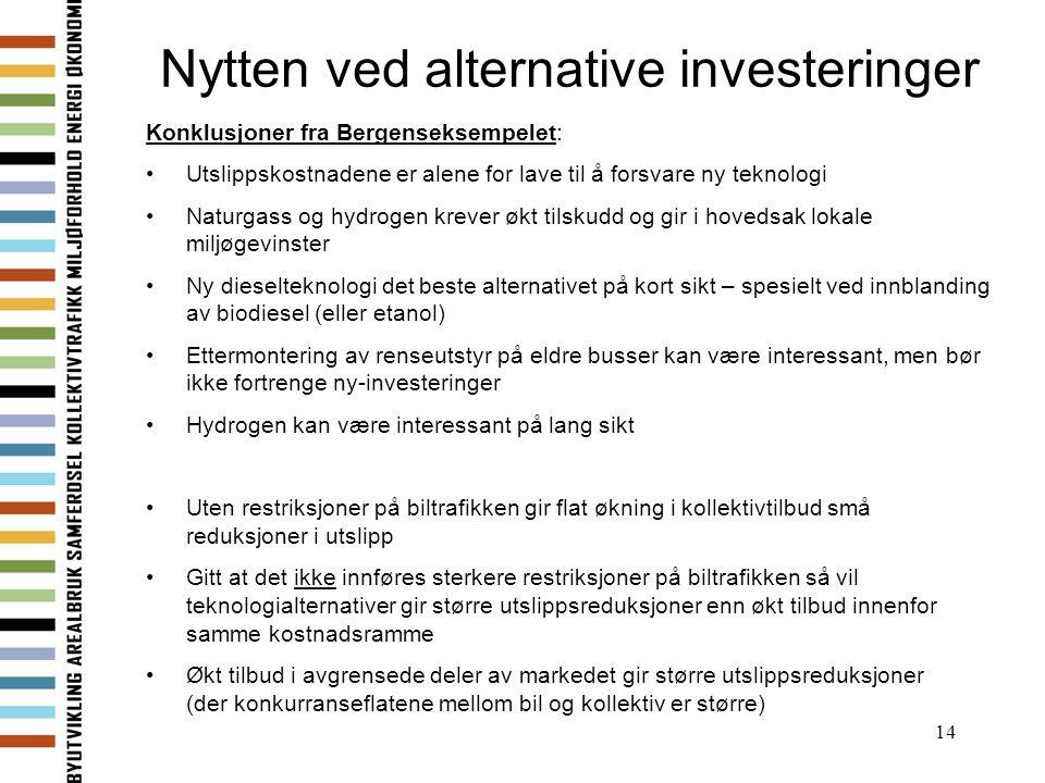 14 Nytten ved alternative investeringer Konklusjoner fra Bergenseksempelet: Utslippskostnadene er alene for lave til å forsvare ny teknologi Naturgass