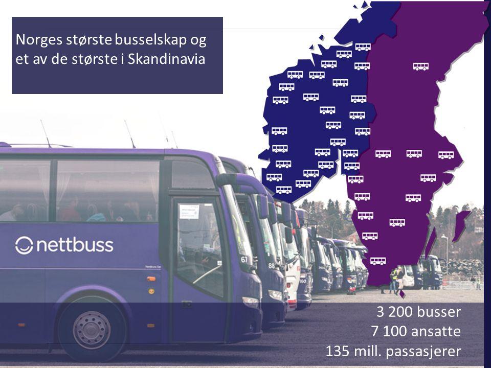 3 200 busser 7 100 ansatte 135 mill. passasjerer Norges største busselskap og et av de største i Skandinavia