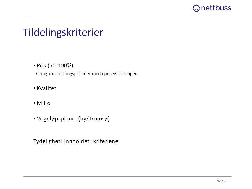 Tildelingskriterier side 8 Pris (50-100%). Oppgi om endringspriser er med i prisevalueringen Kvalitet Miljø Vognløpsplaner (by/Tromsø) Tydelighet i in