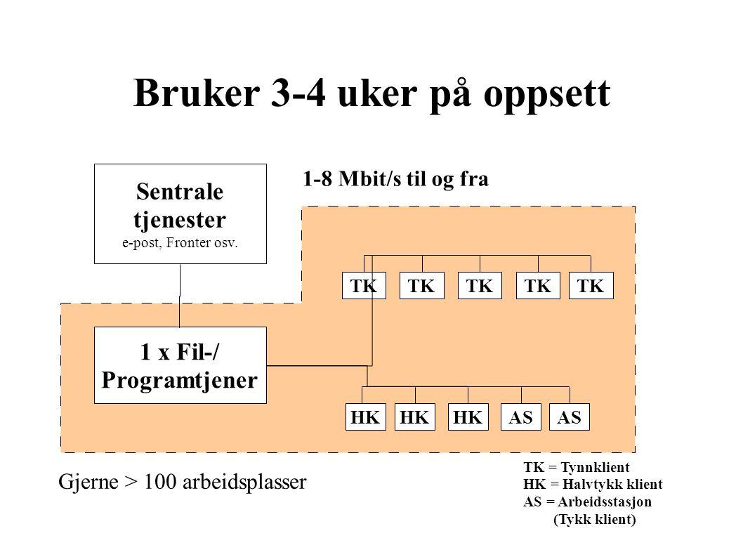 Bruker 3-4 uker på oppsett TK 1 x Fil-/ Programtjener ASHK AS Sentrale tjenester e-post, Fronter osv.