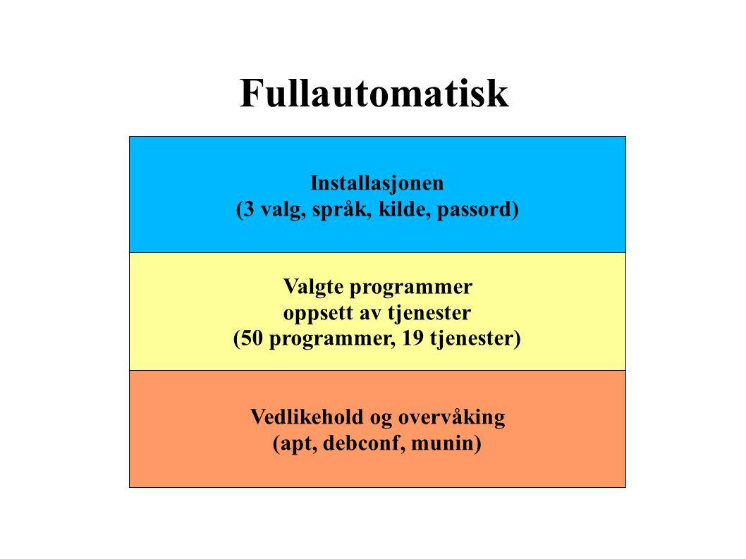 Fullautomatisk Installasjonen (3 valg, språk, kilde, passord) Valgte programmer oppsett av tjenester (50 programmer, 19 tjenester) Vedlikehold og overvåking (apt, debconf, munin)