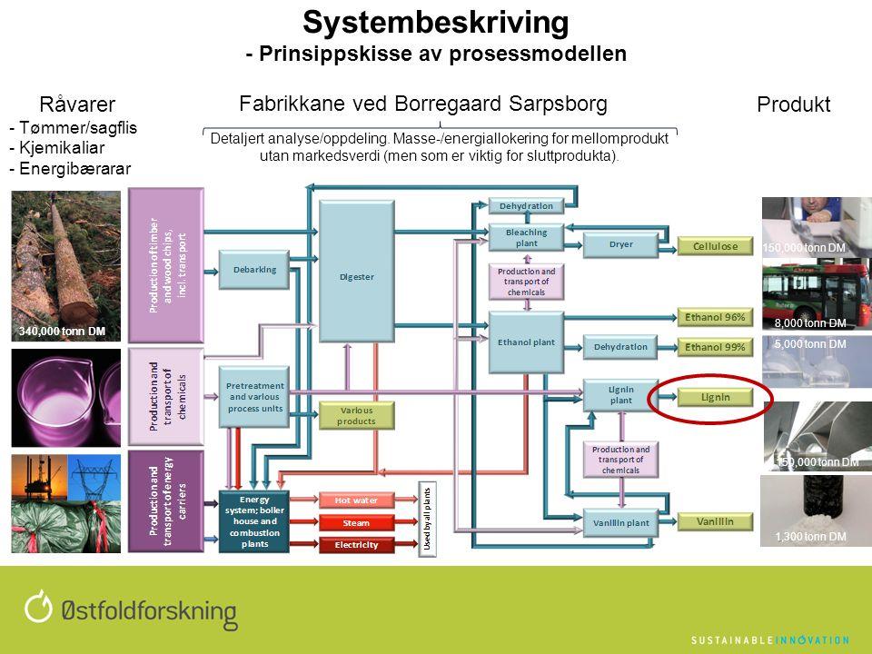 Systembeskriving - Prinsippskisse av prosessmodellen Fabrikkane ved Borregaard Sarpsborg Råvarer - Tømmer/sagflis - Kjemikaliar - Energibærarar Produkt 340,000 tonn DM 8,000 tonn DM 5,000 tonn DM 1,300 tonn DM Detaljert analyse/oppdeling.
