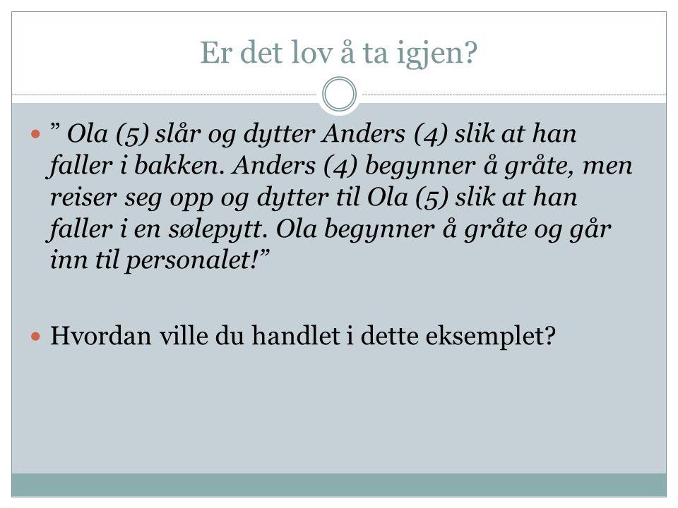 Er det lov å ta igjen. Ola (5) slår og dytter Anders (4) slik at han faller i bakken.