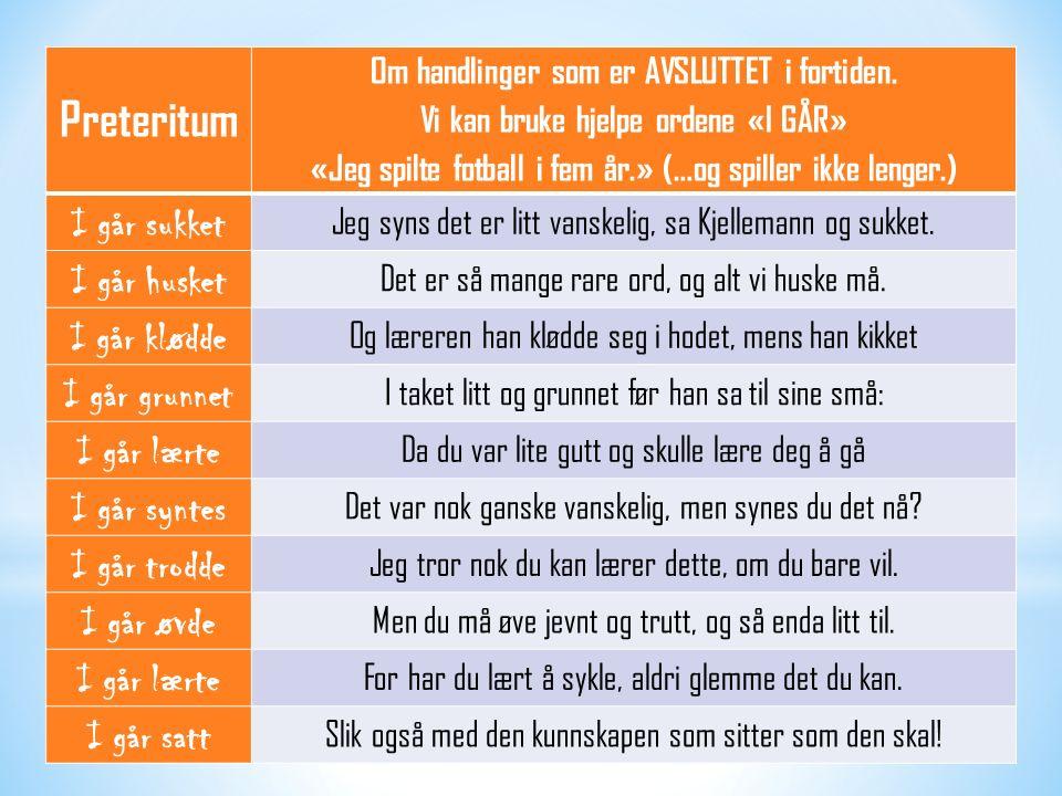 Preteritum Om handlinger som er AVSLUTTET i fortiden.