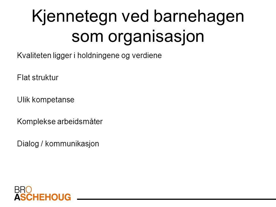 Kjennetegn ved barnehagen som organisasjon Kvaliteten ligger i holdningene og verdiene Flat struktur Ulik kompetanse Komplekse arbeidsmåter Dialog / kommunikasjon