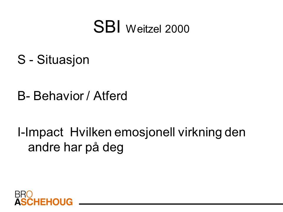 SBI Weitzel 2000 S - Situasjon B- Behavior / Atferd I-Impact Hvilken emosjonell virkning den andre har på deg