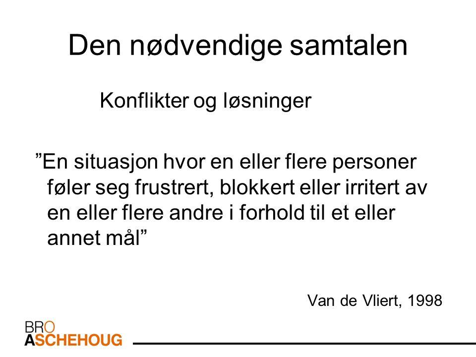 Den nødvendige samtalen Konflikter og løsninger En situasjon hvor en eller flere personer føler seg frustrert, blokkert eller irritert av en eller flere andre i forhold til et eller annet mål Van de Vliert, 1998