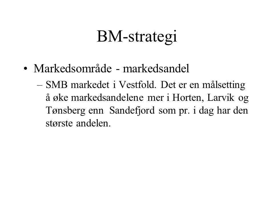 BM-strategi Markedsområde - markedsandel –SMB markedet i Vestfold. Det er en målsetting å øke markedsandelene mer i Horten, Larvik og Tønsberg enn San