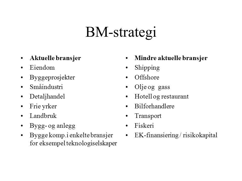 BM-strategi Aktuelle bransjer Eiendom Byggeprosjekter Småindustri Detaljhandel Frie yrker Landbruk Bygg- og anlegg Bygge komp.i enkelte bransjer for e