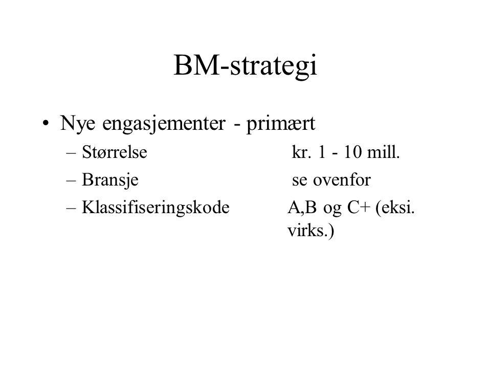 BM-strategi Nye engasjementer - primært –Størrelse kr. 1 - 10 mill. –Bransje se ovenfor –KlassifiseringskodeA,B og C+ (eksi. virks.)