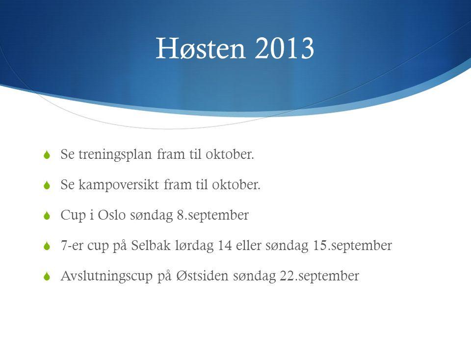 Høsten 2013  Se treningsplan fram til oktober.  Se kampoversikt fram til oktober.