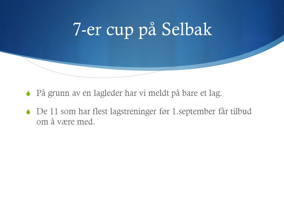 7-er cup på Selbak  På grunn av en lagleder har vi meldt på bare et lag.